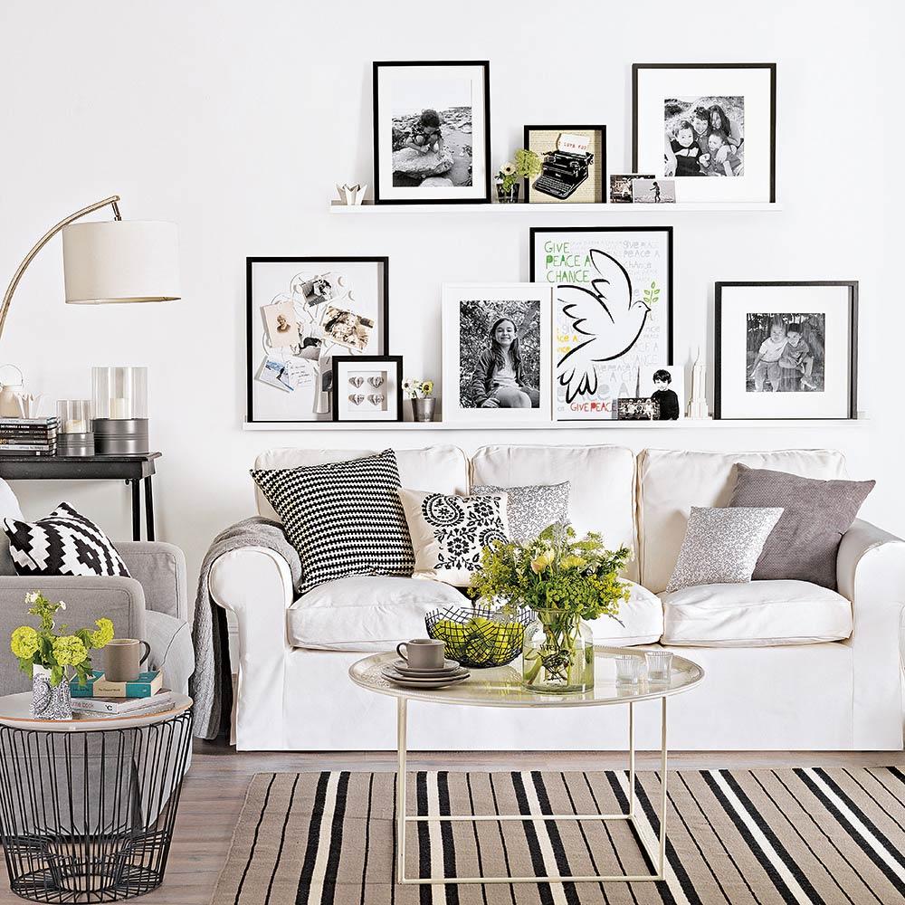Interjer dneve sobe v beli barvi pozivite